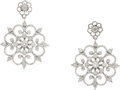 Estate Jewelry:Earrings, Diamond, White Gold Earrings, Leslie Greene. ...