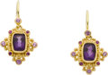 Estate Jewelry:Earrings, Amethyst, Pink Gold Earrings, Zaffiro. ...