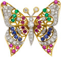 Estate Jewelry:Brooches - Pins, Diamond, Multi-Stone, Platinum, Gold Brooch. ...