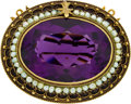 Estate Jewelry:Brooches - Pins, Amethyst, Seed Pearl, Gold Brooch. ...