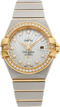 Estate Jewelry:Watches, Omega Lady's Diamond, Pink Gold, Stainless Steel ConstellationWristwatch. ...