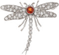 Estate Jewelry:Brooches - Pins, Garnet, Diamond, White Gold Brooch, J.E. Caldwell & Co.. ...