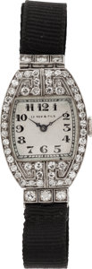 Estate Jewelry:Watches, Art Deco Le Roy & Fils Lady's Diamond, Platinum Wristwatch. ...
