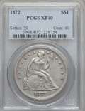 Seated Dollars: , 1872 $1 XF40 PCGS. PCGS Population (73/359). NGC Census: (41/304).Mintage: 1,106,450. Numismedia Wsl. Price for problem fr...
