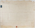 "Autographs:Non-American, [George III] Indenture. One page with docketing on the verso,approximately 32"" x 24"", December 14, 1779, Prestbury, Chester..."