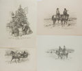 Art:Illustration Art - Mainstream, [Original American Art]. L. F. Bjorklund. Four Original Signed Pencil Drawings. Three from JohN Carroll: A Checklist of His ...