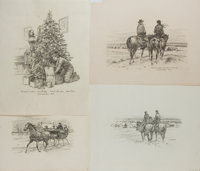 [Original American Art]. L. F. Bjorklund. Four Original Signed Pencil Drawings. Three from JohN Carroll: A Checklist