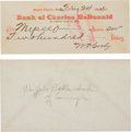 "Autographs:Celebrities, William F. ""Buffalo Bill"" Cody Signed Bank Check with Book Signedby Mrs. Johnny Baker.... (Total: 2 )"