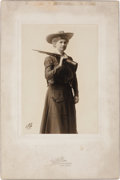 Photography:Studio Portraits, Annie Oakley: Silver Gelatin Print, Circa 1903 by White Studios of New York, Showing Annie as She Appeared in the Stage Play ...