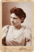Photography:Cabinet Photos, Annie Oakley: A Signed Cabinet Photo of a Very Feminine Annie. ...
