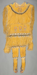 American Indian Art:Beadwork and Quillwork, AN APACHE GIRL'S BEADED HIDE PUBERTY OUTFIT. c. 1920... (Total: 4Items)