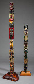 American Indian Art:Wood Sculpture, TWO NORTHWEST COAST-STYLE MODEL TOTEM POLES. c. 1915... (Total: 2Items)