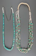 American Indian Art:Jewelry and Silverwork, TWO PUEBLO TURQUOISE AND SHELL NECKLACES. c. 1930... (Total: 2Items)