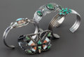 American Indian Art:Jewelry and Silverwork, FOUR SOUTHWEST SILVER AND TURQUOISE BRACELETS. c. 1920 - 1950...(Total: 4 Items)