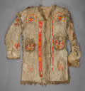 American Indian Art:Beadwork and Quillwork, A SIOUX MAN'S QUILLED HIDE COAT. c. 1880...
