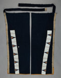 American Indian Art:Beadwork and Quillwork, A PAIR OF SIOUX BEADED CLOTH LEGGINGS. c. 1890...