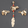 American Indian Art:Jewelry and Silverwork, TWO NAVAJO GOLD JEWELRY ITEMS . Carlton and Julie Jamon. c. 1992...(Total: 2 Items)