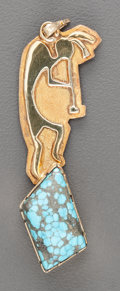 American Indian Art:Jewelry and Silverwork, A NAVAJO (?) GOLD AND TURQUOISE PENDANT. Whirling Wind. c. 1985 ...