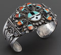American Indian Art:Jewelry and Silverwork, A ZUNI SILVER, STONE, AND SHELL BRACELET. c. 1940...