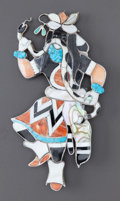 American Indian Art:Jewelry and Silverwork, A ZUNI SILVER, STONE AND SHELL PIN . Attributed to Leo Poblano. c.1950...