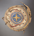 American Indian Art:Pipes, Tools, and Weapons, AN ARAPAHO PAINTED MODEL SHIELD. c. 1875...