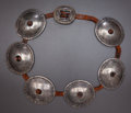 American Indian Art:Jewelry and Silverwork, A NAVAJO SILVER CONCHO BELT. c. 1880... (Total: 2 )