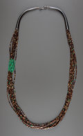 American Indian Art:Jewelry and Silverwork, A SOUTHWEST TURQUOISE AND SHELL BEAD NECKLACE...