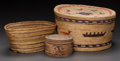 American Indian Art:Baskets, THREE MAKAH POLYCHROME TWINED VESSELS... (Total: 3 Items)