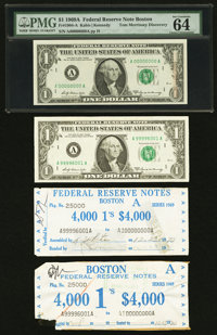 Solid Zero Serial Number Fr. 1904-A $1 1969A Federal Reserve Note. PMG Choice Uncirculated 64
