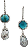 Estate Jewelry:Earrings, Freshwater Cultured Pearl, Tourmaline, Diamond, White Gold Earrings . ...