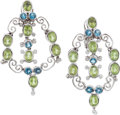 Estate Jewelry:Earrings, Peridot, Topaz, Diamond, White Gold Earrings, Laura Munder. ...