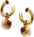 Estate Jewelry:Earrings, Carnelian, Gold Earrings. ...
