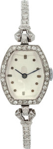 Estate Jewelry:Watches, Art Deco Swiss Lady's Diamond, Platinum Wristwatch. ...
