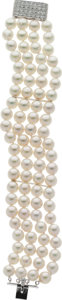 Jewelry, CULTURED PEARL, DIAMOND, WHITE GOLD BRACELET...