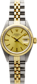 Estate Jewelry:Watches, Rolex Lady's Gold, Stainless Steel Date Wristwatch. ...