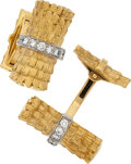 Estate Jewelry:Cufflinks, Diamond, Platinum, Gold Cuff Links. ...
