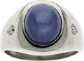 Estate Jewelry:Rings, A GENTLEMAN'S STAR SAPPHIRE, DIAMOND, WHITE GOLD RING. ...