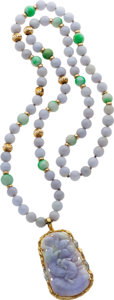 Estate Jewelry:Necklaces, Jadeite Jade, Diamond, Gold Necklace . ...