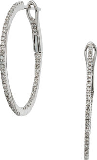 Diamond, White Gold Hoop Earrings