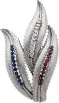 Estate Jewelry:Brooches - Pins, Diamond, Ruby, Sapphire White Gold Brooch. ...