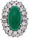 Estate Jewelry:Rings, Green Stone, Diamond, Gold Ring, circa 1950. ...