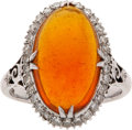 Estate Jewelry:Rings, Fire Opal, Diamond, White Gold Ring. ...