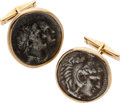 Estate Jewelry:Cufflinks, Ancient Coin, Gold Cuff Links. ...