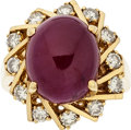 Estate Jewelry:Rings, Ruby Diamond, Gold Ring. ...