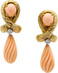 Coral, Diamond, Gold Earrings