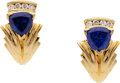 Estate Jewelry:Earrings, Tanzanite, Diamond, Gold Earrings. ...