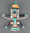 American Indian Art:Jewelry and Silverwork, A ZUNI SILVER, STONE AND SHELL PIN. c. 1940 ...