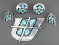 THREE SOUTHWEST SILVER AND TURQUOISE JEWELRY ITEMS Frank Patania c. 1965
