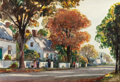 Fine Art - Work on Paper:Watercolor, ANTHONY THIEME (American, 1888-1954). Walking Home from Church,Rockport. Watercolor on paper. 14-1/2 x 21-1/2 inches (3...
