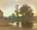 Fine Art - Work on Paper:Drawing, JOHN APPLETON BROWN (American, 1844-1902). Sunset by thePond. Pastel on paper . 17 x 20-3/4 inches (43.2 x 52.7 cm)(si...